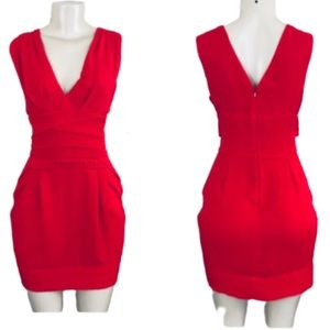 BCBG GENERATION RED SLEEVELESS VNECK SUMMER DRESS